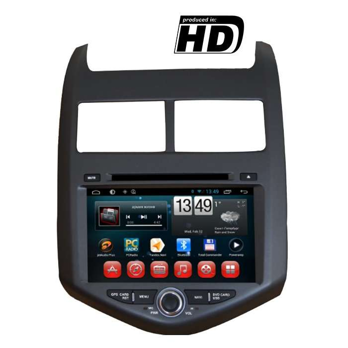 "Radio DVD Navegador GPS HD Android Puro para Chevrolet Aveo (8"")"