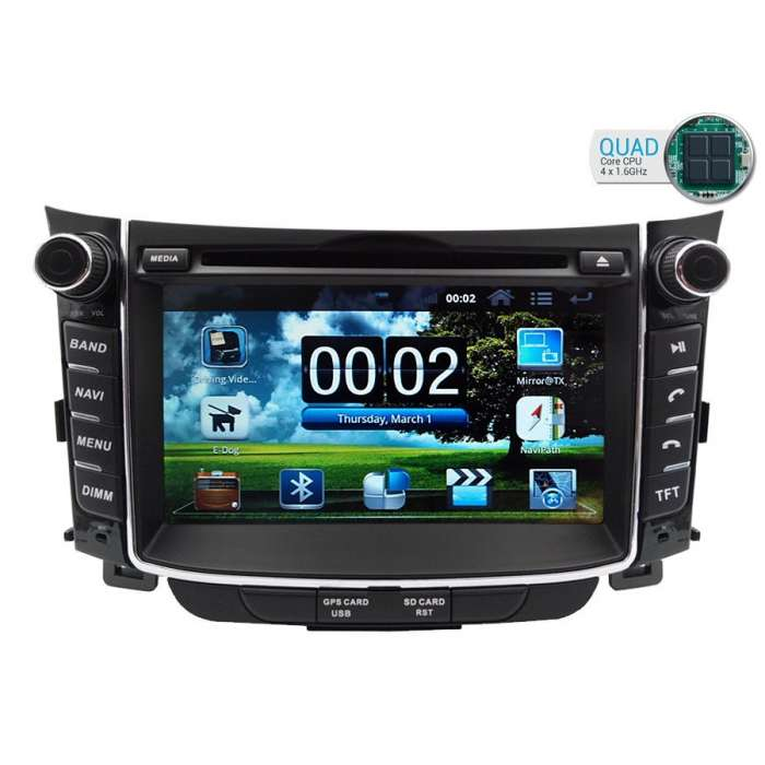 "Radio DVD Navegador GPS Android para Hyundai I30 (7"")"