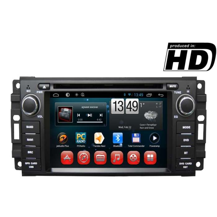 "Radio DVD Navegador GPS HD Android para Dodge / Chrysler / Jeep (7"")"